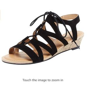 Esprit Carey Laser Cutout Lace Up Cork WedgeSandal